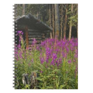 Área de Canadá, el Yukón, río de Ross, cabina aban Spiral Notebooks