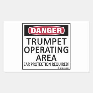 Área de funcionamiento de la trompeta pegatina rectangular