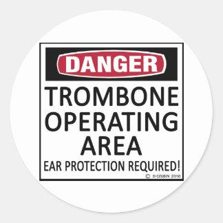 Área de funcionamiento del Trombone Etiquetas Redondas
