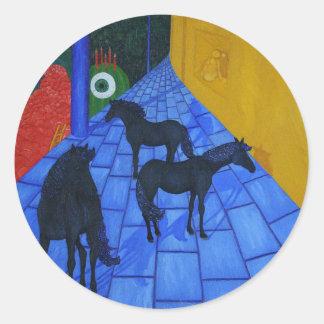 Área de los azules del caballo pegatina redonda