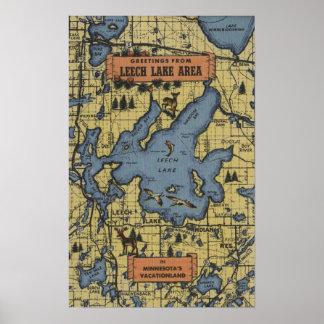 Área del lago leech, Minnesota - escenas grandes d Póster