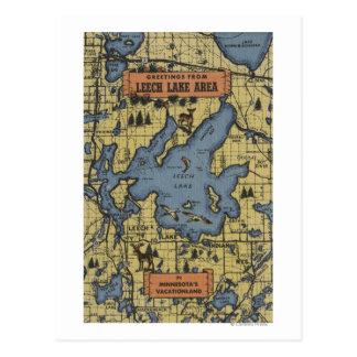 Área del lago leech, Minnesota - escenas grandes Tarjetas Postales