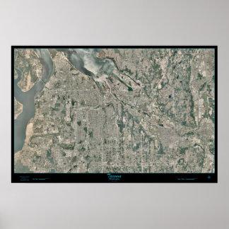Área del metro de Tacoma, poster del satélite de W