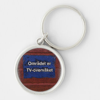 Area is tv monitored Silver-Colored round keychain