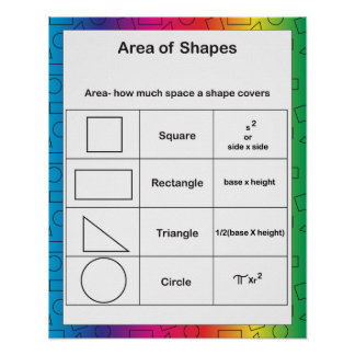 Area of Shapes Rainbow Poster