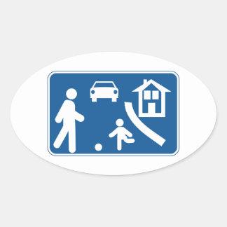 Área residencial, señal de tráfico, España Pegatina Ovalada