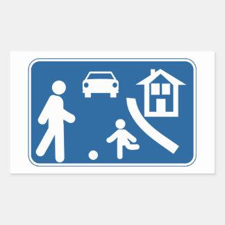 Área residencial, señal de tráfico, España Pegatina Rectangular