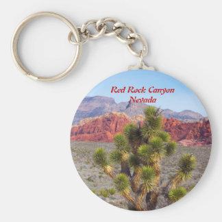 Área roja de la protección del barranco de la roca llavero redondo tipo pin