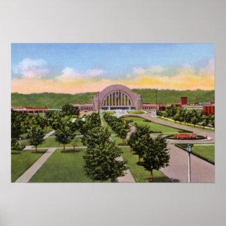 Área terminal de la unión de Cincinnati Ohio Póster