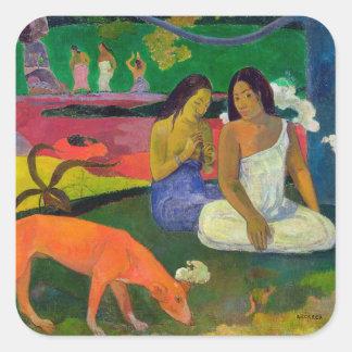 Arearea (el perro rojo), 1892 pegatina cuadrada