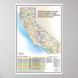 Áreas de cultura indias de California - mapa Póster