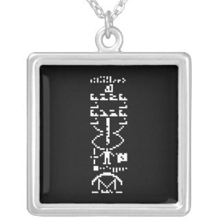 Arecibo Binary Message 1974 Silver Plated Necklace