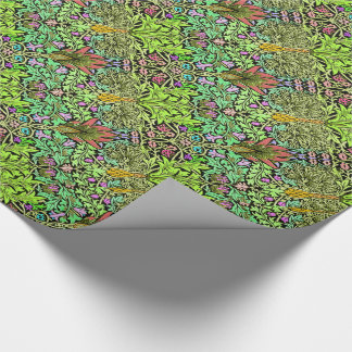 Arelene in forest green and floral wrapping paper