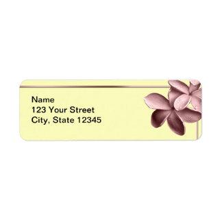 Arena amarilla y Plumeria rosado Etiqueta De Remite