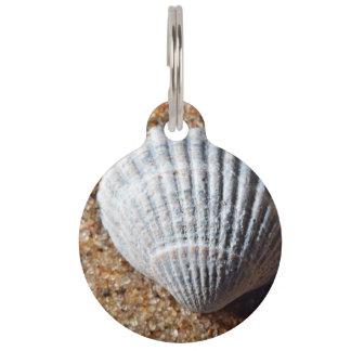 Arena con Shell de un caracol de mar en él Placa Para Mascotas