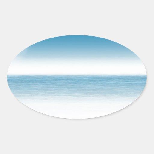 Arena de mar de la playa tranquila calcomania de óval personalizadas