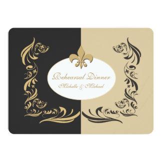 Arena del oro y acontecimiento negro del boda de invitación 13,9 x 19,0 cm