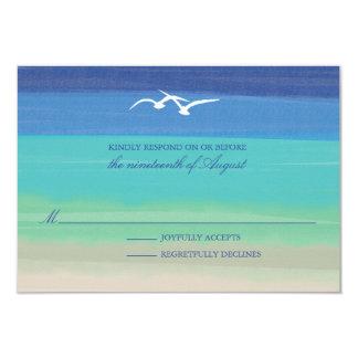 """Arena, mar y océano pintado el   de las gaviotas invitación 3.5"""" x 5"""""""