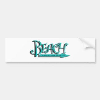 Arena-n-resaca de la playa etiqueta de parachoque