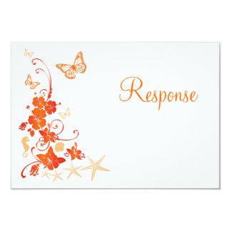 "Arena, naranja, tarjeta tropical blanca de RSVP de Invitación 3.5"" X 5"""