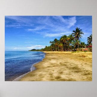 Arena y cielo de la playa de Fiji Póster