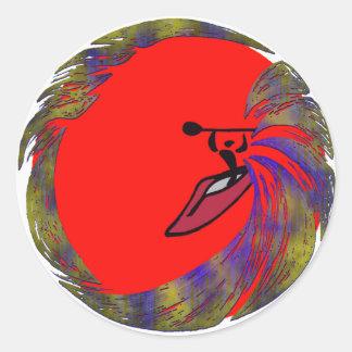 arenas del rojo del kajak pegatina redonda