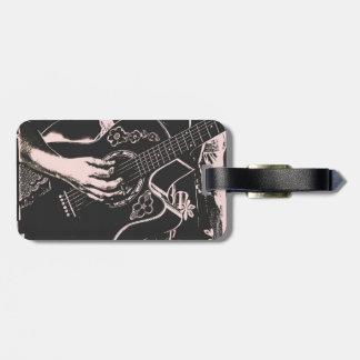 Arenoso gris de la guitarra del pnk femenino de la etiquetas de equipaje
