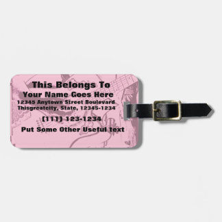 Arenoso invertido de la guitarra del rosa femenino etiqueta para equipaje