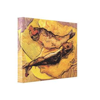 Arenques ahumados (pescados) por la impresión de l impresión en lienzo estirada