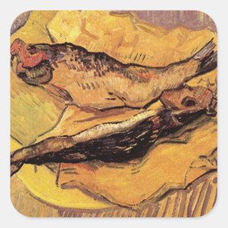 Arenques ahumados (pescados) por Van Gogh Pegatina Cuadrada