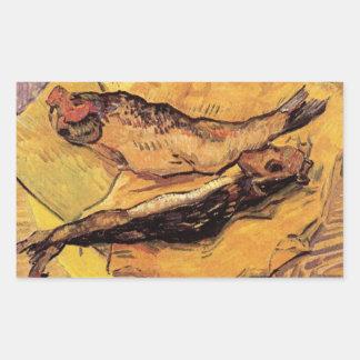 Arenques ahumados (pescados) por Van Gogh Pegatina Rectangular