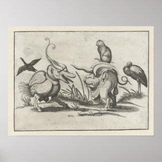 Arent van Bolten s Cat riding a Monster Posters