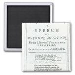 Areopagitica'  a speech of John Milton 2 Inch Square Magnet