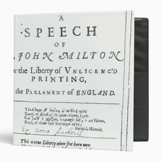 Areopagitica'  a speech of John Milton Binder