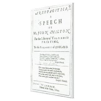 Areopagitica'  a speech of John Milton Gallery Wrap Canvas