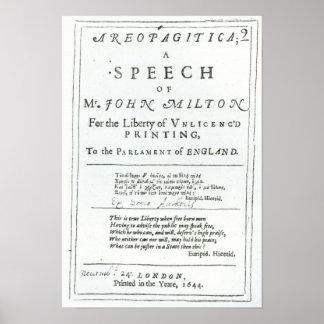 Areopagitica a speech of John Milton Posters
