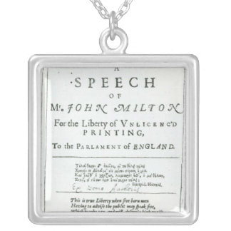 Areopagitica'  a speech of John Milton Silver Plated Necklace
