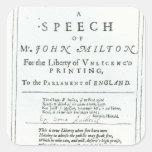 Areopagitica un discurso de John Milton Calcomania Cuadradas Personalizadas