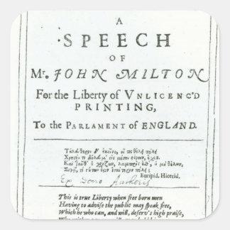 Areopagitica un discurso de John Milton Pegatina Cuadrada