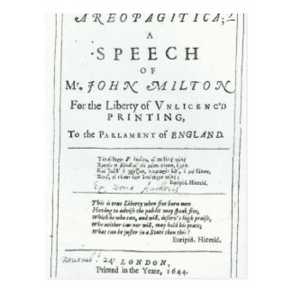 Areopagitica un discurso de John Milton Postales