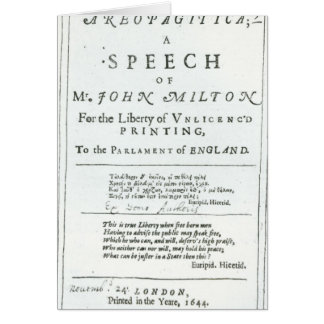 Areopagitica un discurso de John Milton Tarjeta De Felicitación