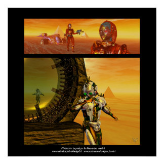 ARES AND TITAN / CYBORGS IN THE DESERT OF HYPERION POSTER