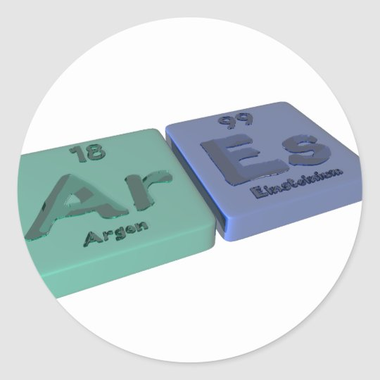Ares as Ar Argon and Es Einsteinium Classic Round Sticker
