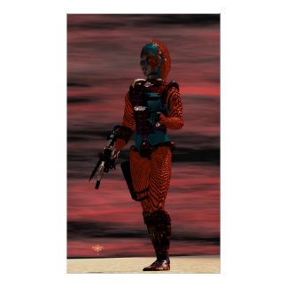ARES - CYBORG IN DESERT SUNSET Science Fiction Poster