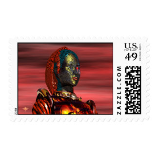 ARES CYBORG PORTRAIT IN RED DESERT SUNSET Sci-Fi Postage