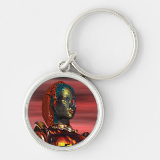 ARES - CYBORG PORTRAIT IN SUNSET / Science Fiction Keychain