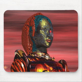 ARES - CYBORG PORTRAIT IN SUNSET Science Fiction Mouse Pad