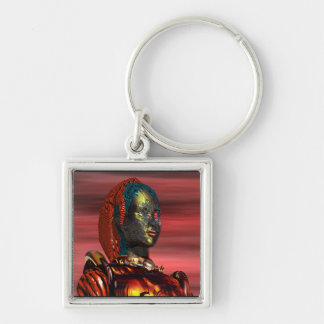 ARES - CYBORG PORTRAIT IN SUNSET / Science Fiction Silver-Colored Square Keychain