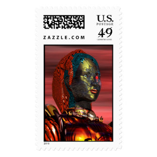 ARES / CYBORG PORTRAIT IN THE DESERT SUNSET POSTAGE STAMP