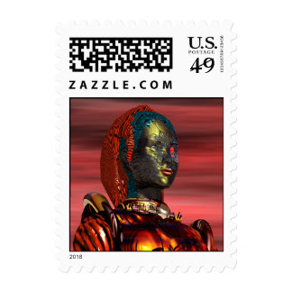 ARES CYBORG PORTRAIT IN THE DESRT SUNSET POSTAGE STAMP